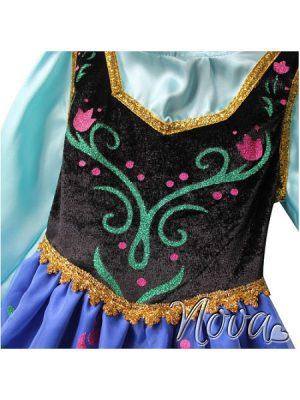 Prinses Anna Disney Frozen Prinsessenjurk Close-up voorkant bovenkant Novakinderkleding