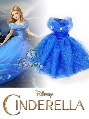 631370c54564d4 Cinderella Assepoester Meisjes Prinsessenjurk Donkerblauw met vlinders