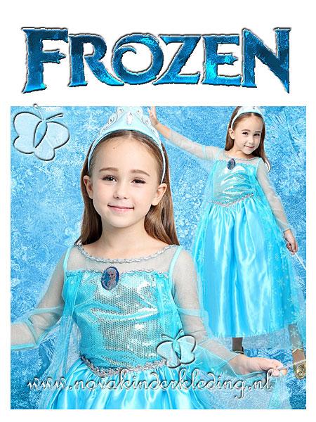 Frozen-koningin-prinses-Elsa-ijsblauwe-prinsessenjurk-met-sneeuwvlokken