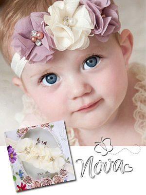 set chiffon bloem baby haarband en sandalen
