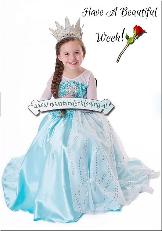 Nieuw-Disney-Frozen-Elsa-Prinsessenjurk-Novakinderkleding