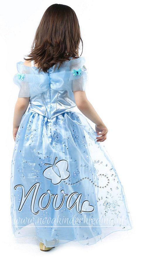 Cinderella--Assepoester-Prinsessenjurk-Lichtblauw-met-Vlinders