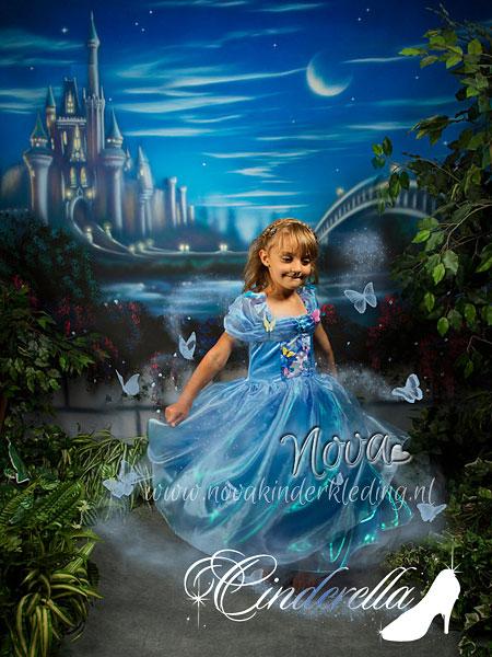 Cinderella-Prinsessenjurk-Velours-3D-Vlinder-Novakinderkleding