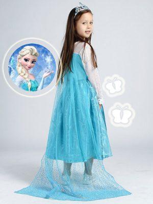 Prinsessenjurk Frozen ijsblauw koningin prinses Elsa